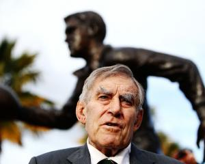 Sir Colin Meads at his statue unveiling earlier this year in Te Kuiti. Photo: Getty Images