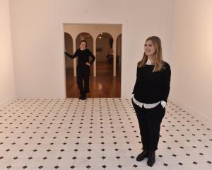 Lucinda Bennett, of Dunedin, left, and Charlotte Drayton, of Auckland, at the exhibition '...