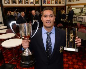 Dunedin loose forward Hame Toma after winning the Dunedin club rugby player of the year award at...