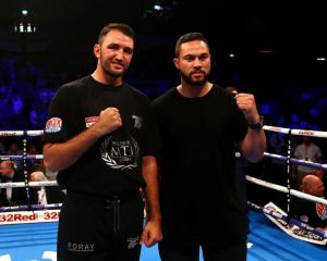 Hughie Fury (left) and Joseph Parker in the ring at the Copper Box Arena. Photo: Getty Images