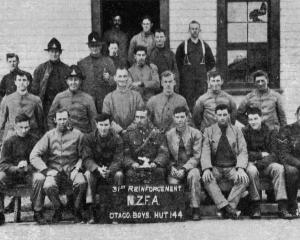 Otago and Southland boys with the 31st Reinforcements. Front row (from left): R. Olen, A....