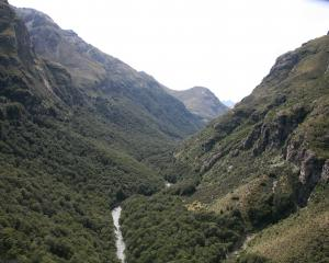 Looking upstream from near the crash site. Photo: NZ Police.