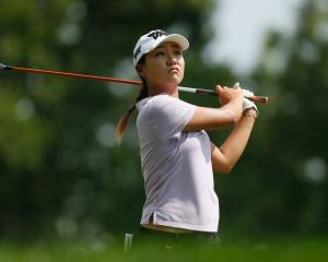Lydia Ko plays a shot on the first day of the US Open. Photo: Getty Images