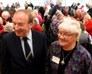 Historian and author Ron Palenski and New Zealand Nurses' Memorial Fund chairwoman Maureen Trevor...