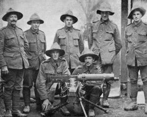 A group of New Zealand machine-gunners before the Somme battle. Standing (from left): Sgt...