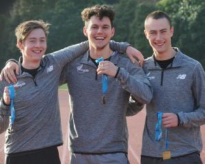 Sam Gouverneur (17), Felix McDonald (19) and Cameron Miller (17) at the Caledonian Ground...