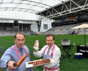 Allied Press chief executive Grant McKenzie (left) and Dunedin Venues chief executive Terry...