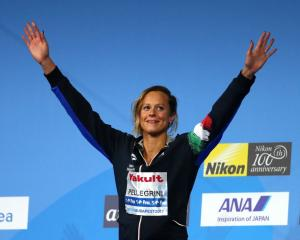 Italy's Federica Pellegrini on the podium after winning her seventh 200m freestyle gold medal at...