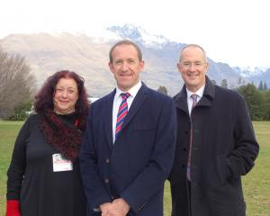 Labour Clutha-Southland candidate Cherie Chapman, of Bluff, with party leader Andrew Little ...
