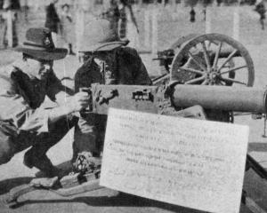 One of five German machine guns among the trophies captured from the Turks and now on display in...
