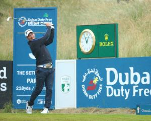 Ryan Fox of New Zealand tees off on the 3rd hole during the final round of the Dubai Duty Free...