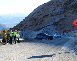 A female driver in a hire car heading towards Queenstown on the Crown Range Rd lost control....