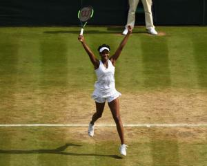 Venus Williams celebrates her win in her Wimbledon semifinal. Photo: Getty Images