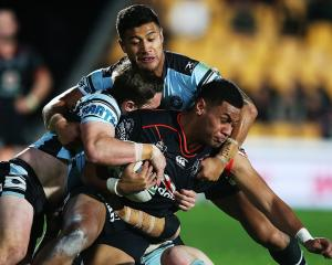 David Fusitu'a of the Warriors charges forward against the Cronulla Sharks at Mt Smart Stadium....