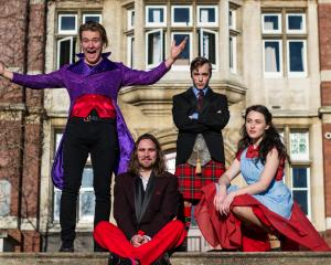 Left to Right, Nick Tipa - Feste, Zac Nicholls - Writer/Musician, Shaun Swain - Malvolio, Sam...