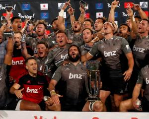 The Crusaders celebrate winning the Super Rugby title in Johannesburg at he weekend. Photo Reuters