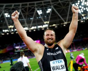 Tom Walsh celebrates his victory in the men's shot put final. Photo Reuters