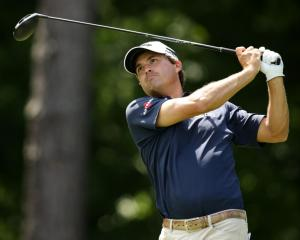Kevin Kisner tees off on the fifth hole. Photo: Rob Schumacher-USA TODAY Sports