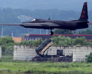 A US Air Force U-2 Dragon Lady takes part in a drill at Osan Air Base in Pyeongtaek, South Korea....