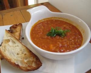 The Bank Cafe's roast vegetable and red lentil soup. Photo: Pam Jones.