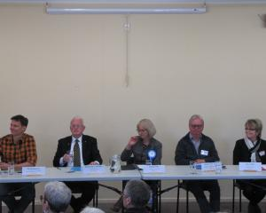 Waitaki candidates and representatives (from left) Sampsa Kiuru (representing Green Party Waitaki...