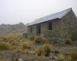 White's Hut, about 5km from Mitchell's Cottage, is seen on a foggy day in Central Otago. The hut...