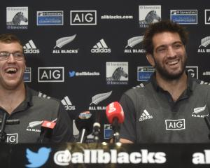All Black locks Brodie Retallick (left) and Sam Whitelock at a press conference in Dunedin...