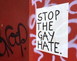 A poster placed by same-sex marriage advocates can be seen in a Melbourne laneway ahead of a...