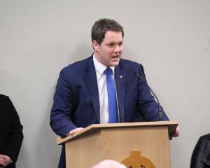 Hamish Walker addresses members of the National Party shortly after he was announced as the...