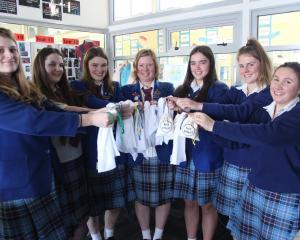 South Otago High School pupils (from left) Abbey Mills (16), Charlotte Ellis (16), Alice Murray ...