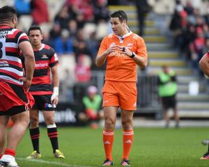 Referee Ben O'Keeffe during last year's Mitre 10 Cup premiership semifinal between Canterbury and...