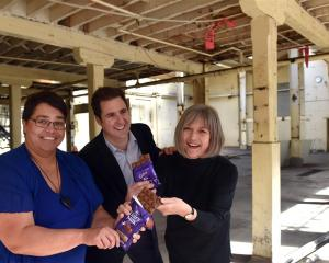 Cadbury World manager Kylie Ruwhiu-Karawana (left), Mondelez International New Zealand head James...