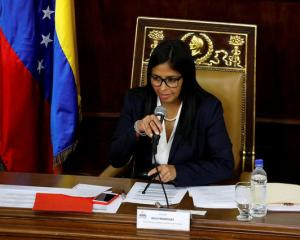 National Constituent Assembly President Delcy Rodriguez attends to one of its session in Caracas....