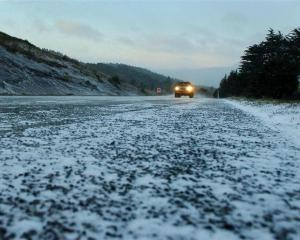 Drivers face treacherous icy conditions on Dunedin's Northern Motorway yesterday morning. Photo...