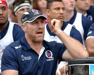 Brad Thorn watches a match between Brisbane City and Queensland Country at Ballymore Stadium in...