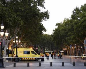 Emergency services at the scene of the attack, Las Ramblas avenue, in central Barcelona. Photo:...