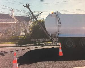 The truck crashed into a power pole in Augustine St, Waimate. Photo Shannon Gillies
