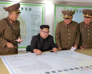 North Korean leader Kim Jong Un visits the Command of the Strategic Force of the Korean People's...