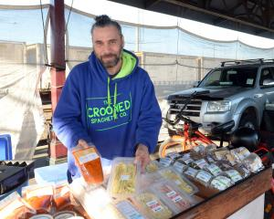 Marcus Tonga sells his pasta at the Otago Farmers' Market. Photo: Linda Robertson