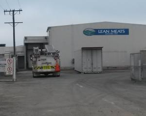 Fire crews work to control a hazardous substance emergency at Lean Meats Oamaru Ltd. Photo:...