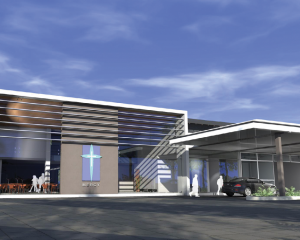 Artist's impression of planned renovation to main entrance.
