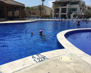 Belinda Gelston in the pool of the Royal Decameron in Los Cabos. Photo: NZME