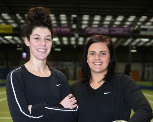 Dani Gray and Olivia Bates at the Edgar Centre yesterday after being announced as new Southern...
