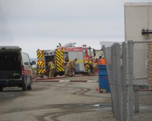 Fire and Emergency New Zealand crews work to to control a hazardous substance emergency at Oamaru...