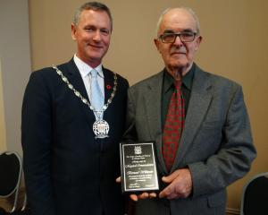 Waitaki Mayor Gary Kircher and Waitaki Citizens' Awards Mayoral Commendation Awards recipient...