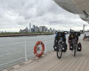 Kel and Sharon Fowler's Hungarian bikes aboard Queen Mary 2, docked in New York.