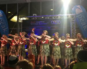 Members of the Arrowtown School kapa haka group perform a waiata at the New Zealand Winter Games...