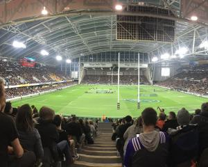 Fans wait for tonight's Bledisloe Cup match to start at Forsyth Barr Stadium. Photo: Gerard O'Brien