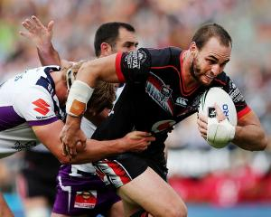 Simon Mannering carries the ball earlier this season. Photo: Getty Images