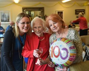 Cynthia Dwan, of Dunedin, celebrates her 100th birthday with great-niece Andrea McFarlane (left)...